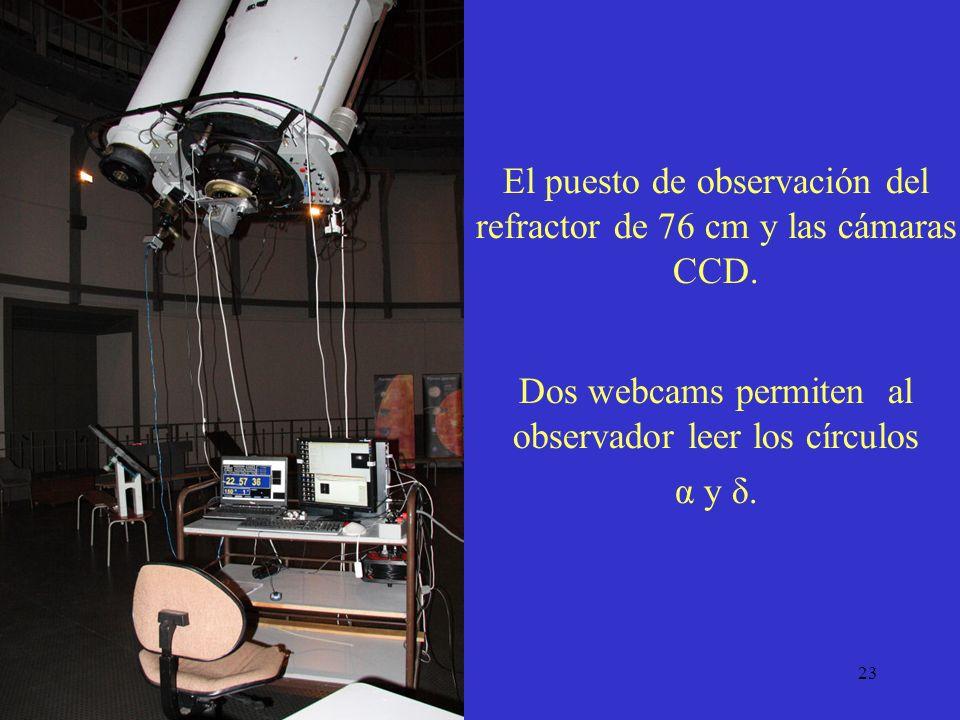 23 El puesto de observación del refractor de 76 cm y las cámaras CCD. Dos webcams permiten al observador leer los círculos α y δ.