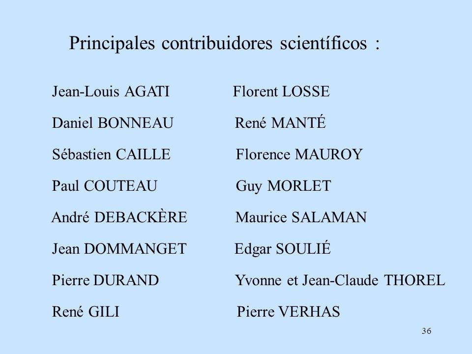 36 Principales contribuidores scientíficos : Jean-Louis AGATI Florent LOSSE Daniel BONNEAU René MANTÉ Sébastien CAILLE Florence MAUROY Paul COUTEAU Gu