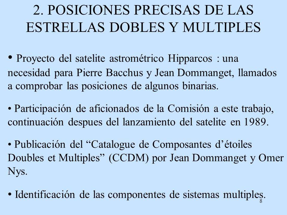 8 2. POSICIONES PRECISAS DE LAS ESTRELLAS DOBLES Y MULTIPLES Proyecto del satelite astrométrico Hipparcos : una necesidad para Pierre Bacchus y Jean D