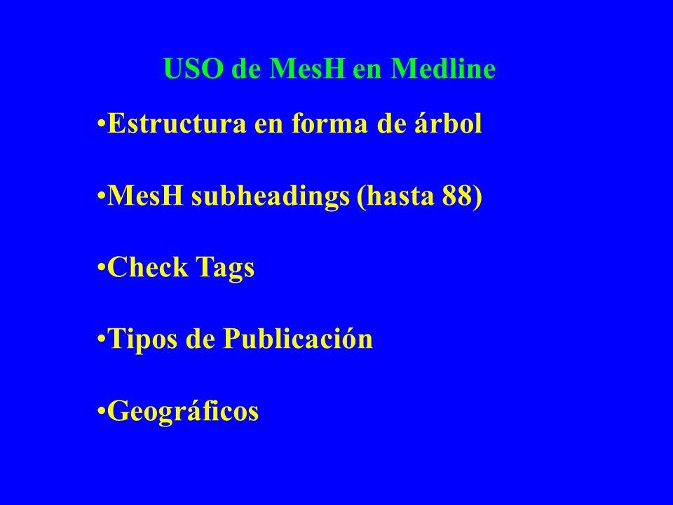 USO de MesH en Medline Estructura en forma de árbol MesH subheadings (hasta 88) Check Tags Tipos de Publicación Geográficos