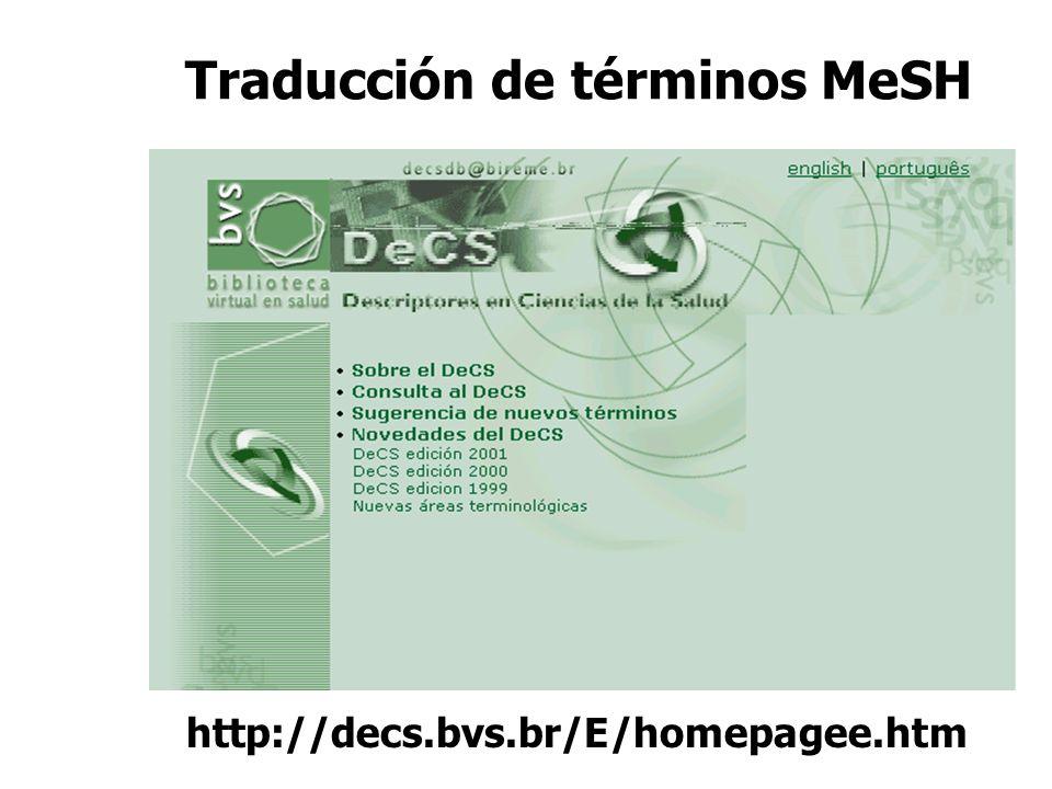 Traducción de términos MeSH http://decs.bvs.br/E/homepagee.htm
