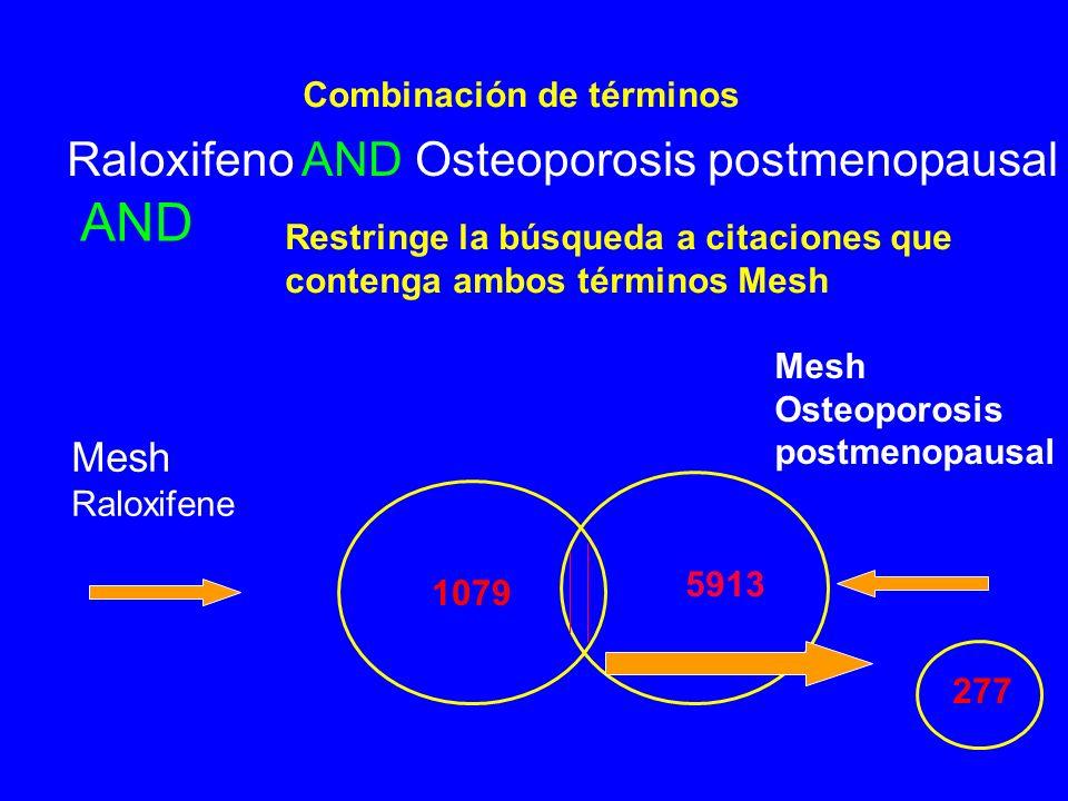 Combinación de términos AND Raloxifeno AND Osteoporosis postmenopausal Mesh Raloxifene 1079 Mesh Osteoporosis postmenopausal 5913 Restringe la búsqueda a citaciones que contenga ambos términos Mesh 277