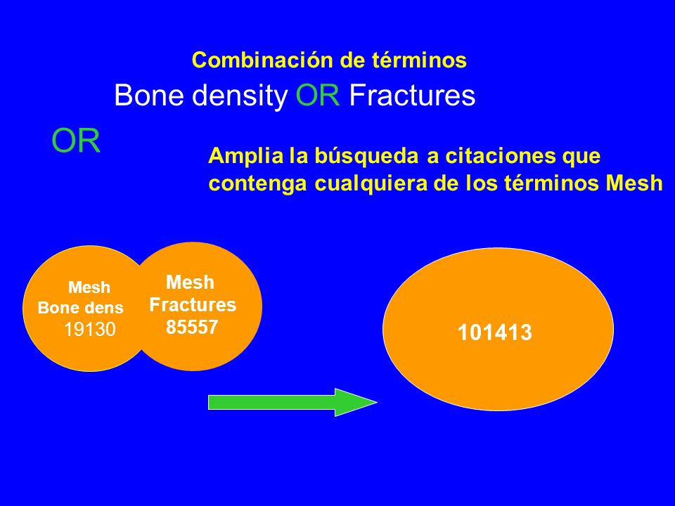 Combinación de términos OR Bone density OR Fractures Mesh Bone density 19130 Mesh Fractures 85557 101413 Amplia la búsqueda a citaciones que contenga cualquiera de los términos Mesh