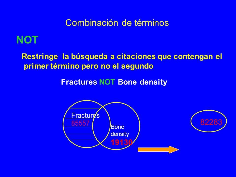Combinación de términos NOT Restringe la búsqueda a citaciones que contengan el primer término pero no el segundo Fractures NOT Bone density Fractures 85557 Bone density 19130 82283