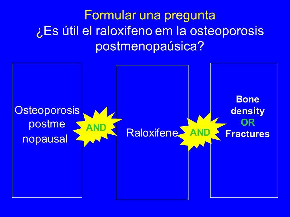 Formular una pregunta ¿Es útil el raloxifeno em la osteoporosis postmenopaúsica.
