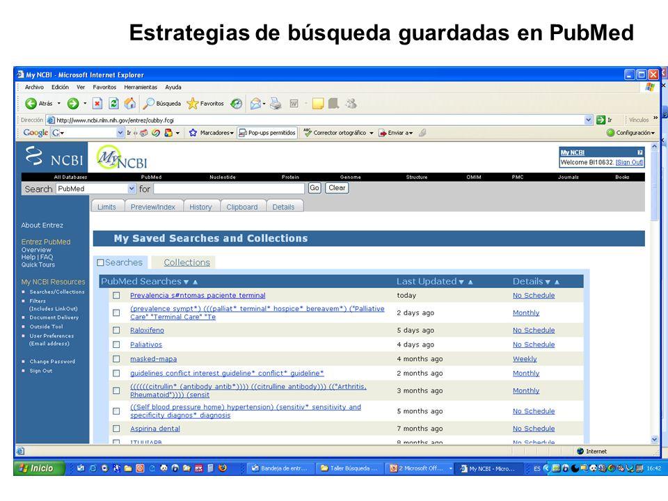 Estrategias de búsqueda guardadas en PubMed
