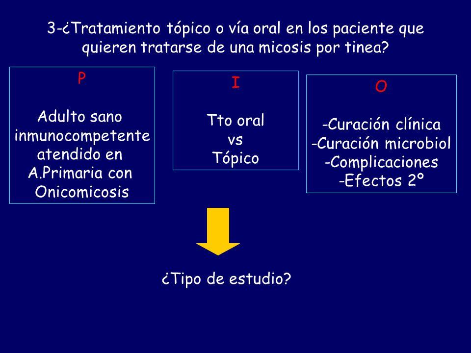 2-¿Utilidad del KOH y cultivo en el diagnóstico de onicomicosis? P Adulto sano inmunocompetente atendido en A.Primaria con trast ungueales I KOH/Culti