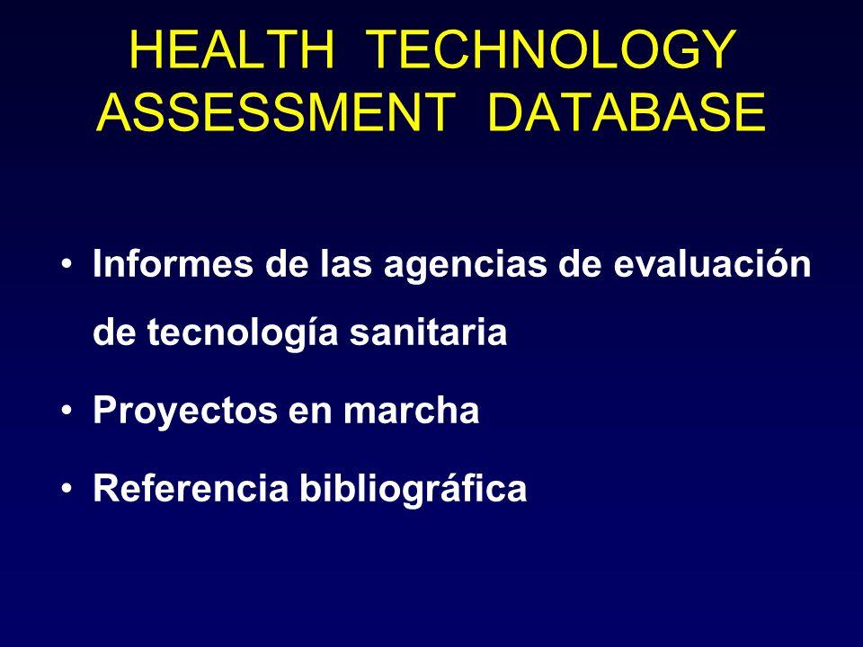 HEALTH TECHNOLOGY ASSESSMENT DATABASE Informes de las agencias de evaluación de tecnología sanitaria Proyectos en marcha Referencia bibliográfica