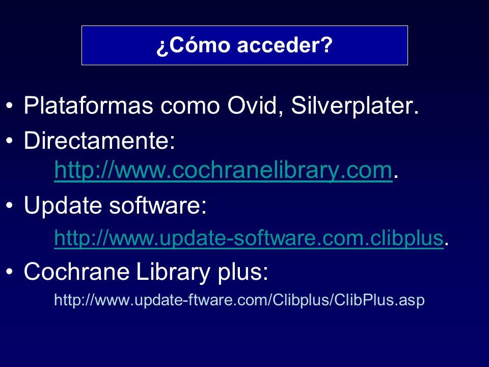 Plataformas como Ovid, Silverplater.Directamente: http://www.cochranelibrary.com.