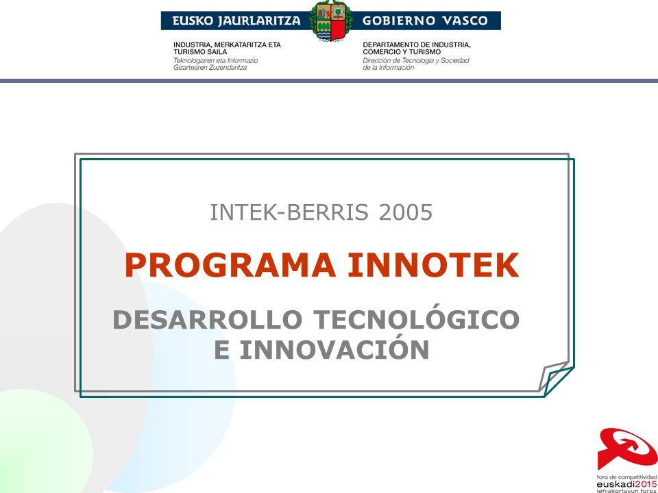 INTEK-BERRIS 2005 PROGRAMA INNOTEK DESARROLLO TECNOLÓGICO E INNOVACIÓN