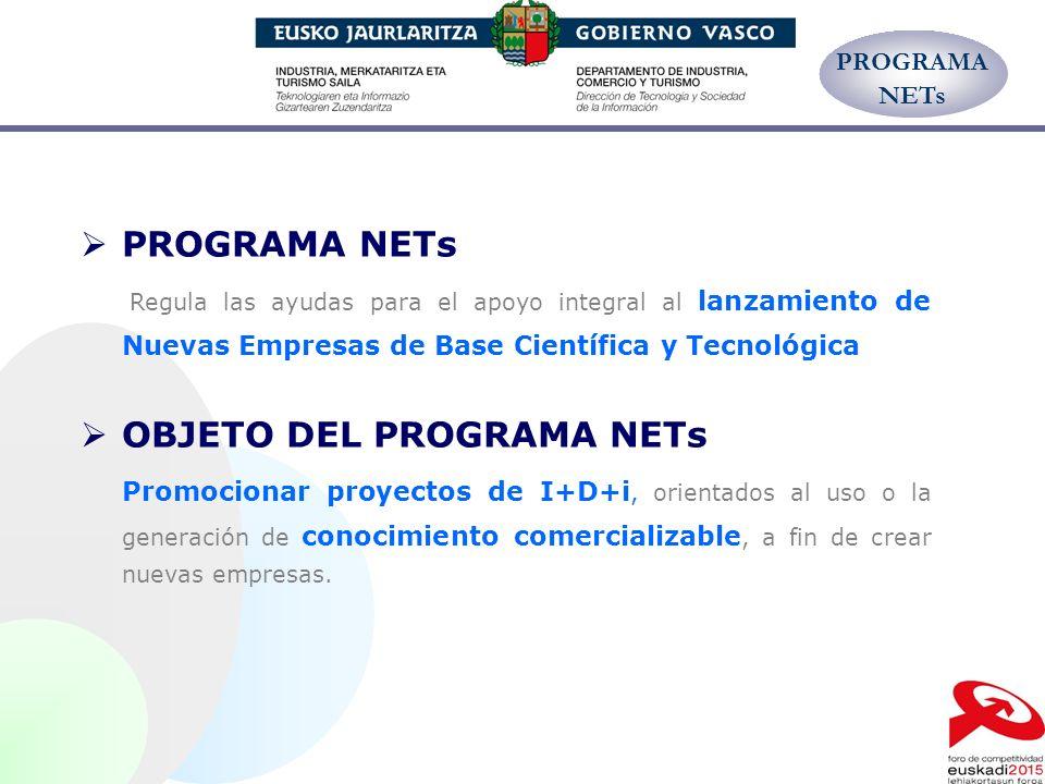 PROGRAMA NETs Regula las ayudas para el apoyo integral al lanzamiento de Nuevas Empresas de Base Científica y Tecnológica OBJETO DEL PROGRAMA NETs Pro