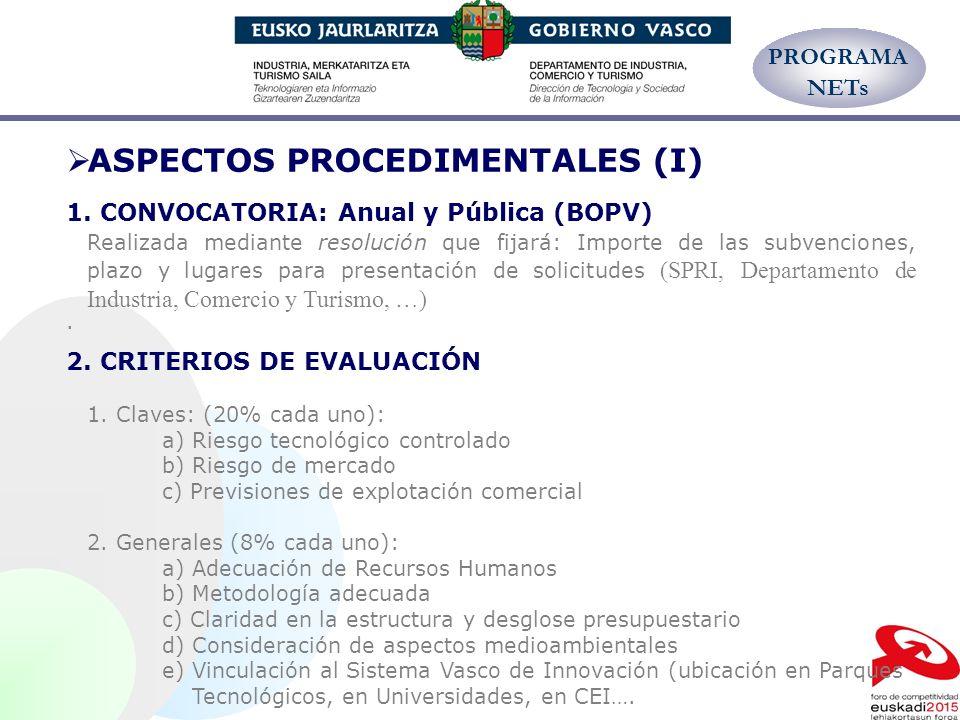 ASPECTOS PROCEDIMENTALES (I) 1. CONVOCATORIA: Anual y Pública (BOPV) Realizada mediante resolución que fijará: Importe de las subvenciones, plazo y lu