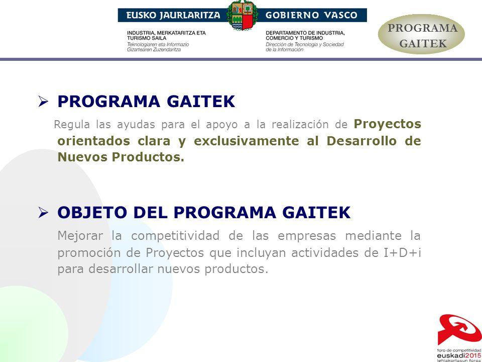 PROGRAMA GAITEK Regula las ayudas para el apoyo a la realización de Proyectos orientados clara y exclusivamente al Desarrollo de Nuevos Productos. OBJ