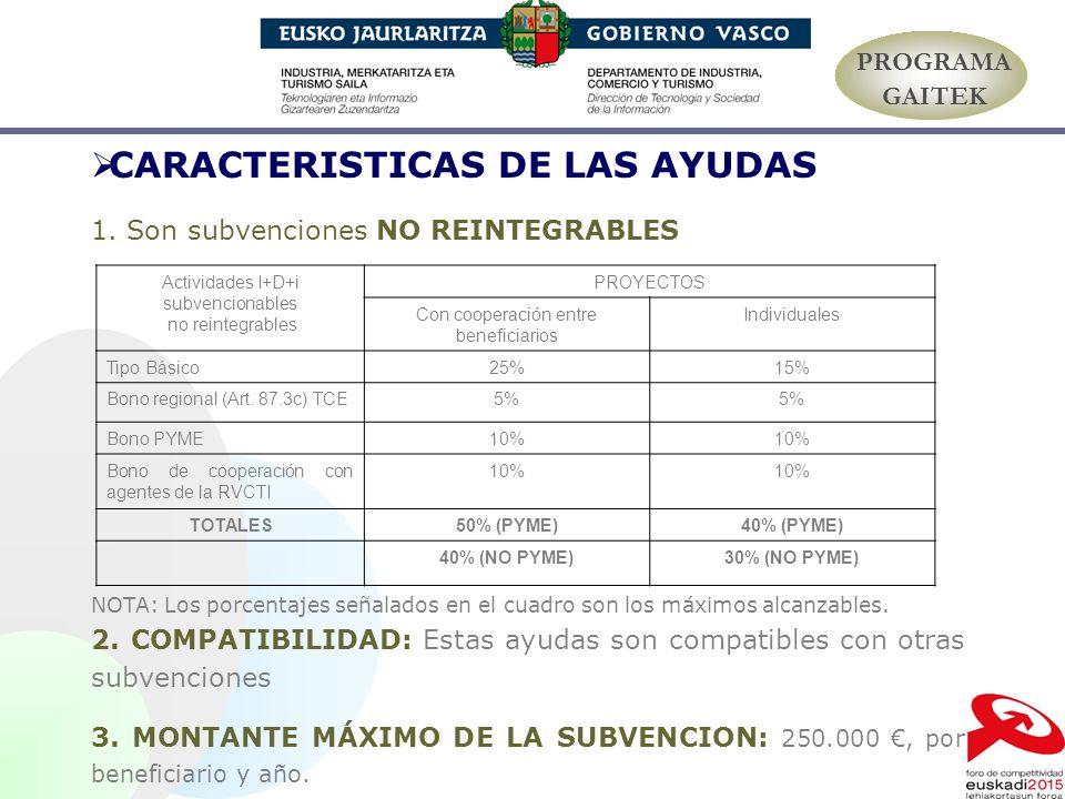 CARACTERISTICAS DE LAS AYUDAS 1. Son subvenciones NO REINTEGRABLES NOTA: Los porcentajes señalados en el cuadro son los máximos alcanzables. 2. COMPAT