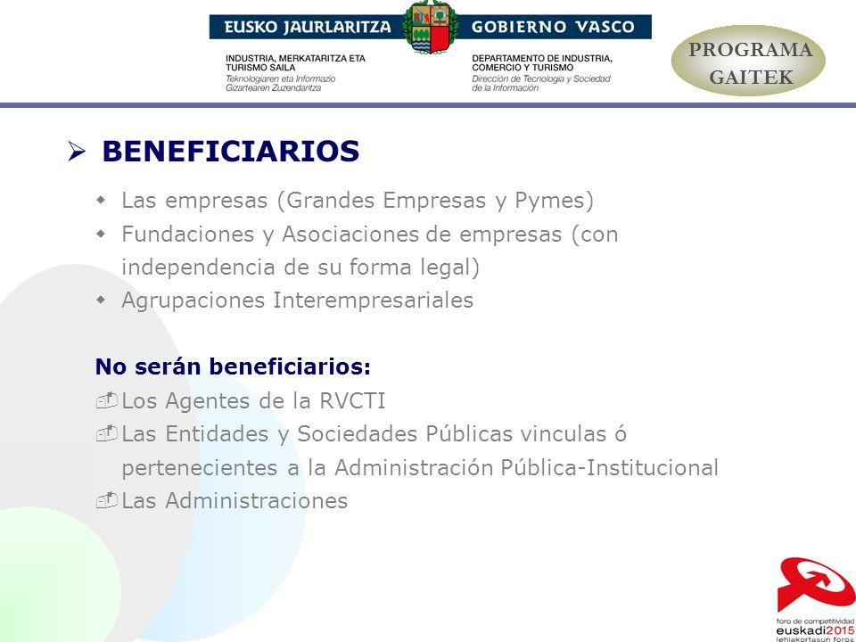 BENEFICIARIOS Las empresas (Grandes Empresas y Pymes) Fundaciones y Asociaciones de empresas (con independencia de su forma legal) Agrupaciones Intere