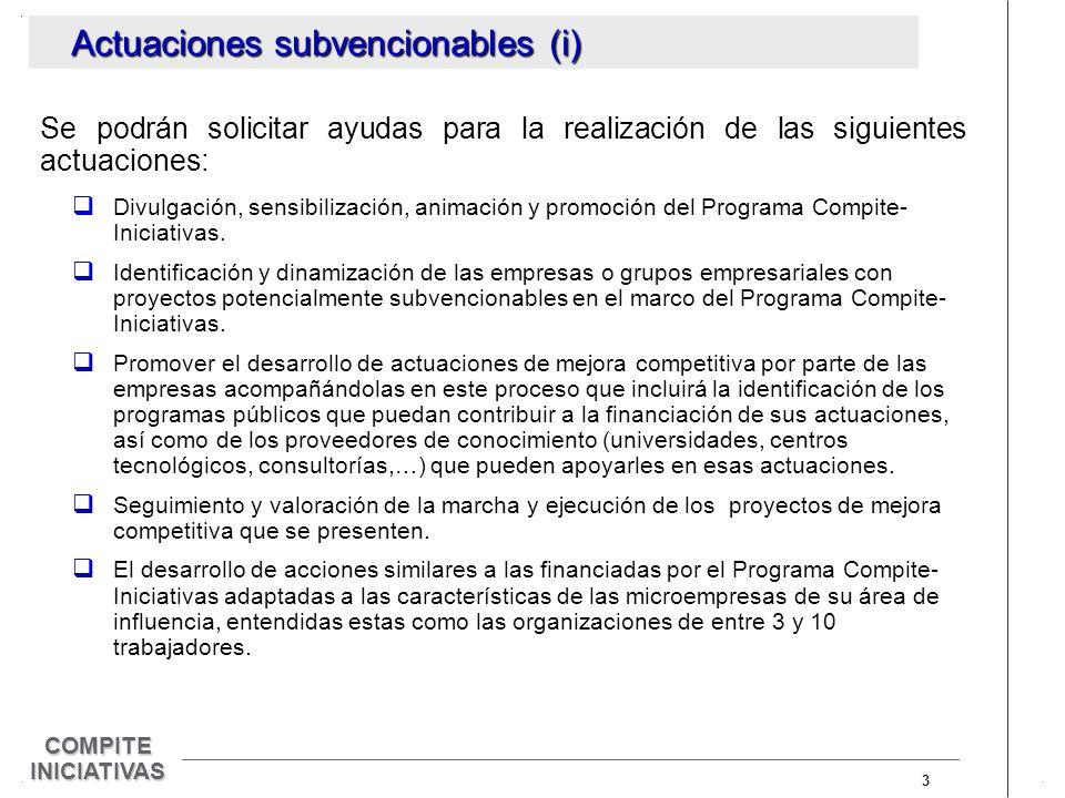 3 COMPITE INICIATIVAS Actuaciones subvencionables (i) Se podrán solicitar ayudas para la realización de las siguientes actuaciones: Divulgación, sensibilización, animación y promoción del Programa Compite- Iniciativas.