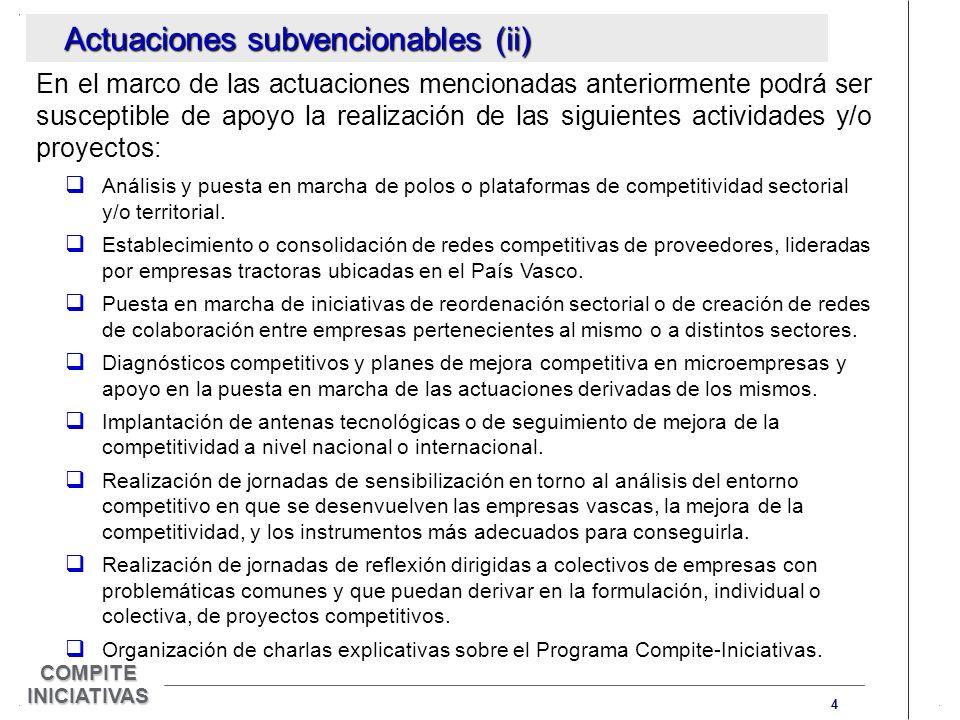 4 COMPITE INICIATIVAS Actuaciones subvencionables (ii) En el marco de las actuaciones mencionadas anteriormente podrá ser susceptible de apoyo la realización de las siguientes actividades y/o proyectos: Análisis y puesta en marcha de polos o plataformas de competitividad sectorial y/o territorial.