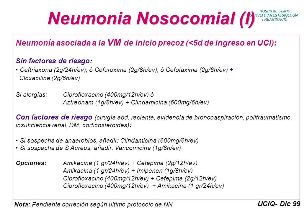 UCIQ- Dic 99 HOSPITAL CLÍNIC SERVEI DANESTESIOLOGÍA I REANIMACIÓ Neumonia Nosocomial (I) Neumonía asociada a la VM de inicio precoz (<5d de ingreso en