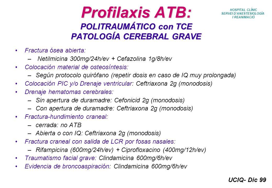 UCIQ- Dic 99 HOSPITAL CLÍNIC SERVEI DANESTESIOLOGÍA I REANIMACIÓ Profilaxis ATB: POLITRAUMÁTICO con TCE PATOLOGÍA CEREBRAL GRAVE Fractura ósea abierta