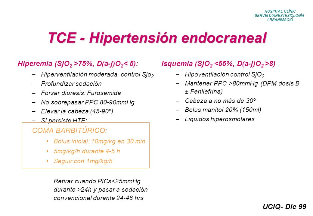 UCIQ- Dic 99 HOSPITAL CLÍNIC SERVEI DANESTESIOLOGÍA I REANIMACIÓ TCE - Hipertensión endocraneal Hiperemia (SjO 2 >75%, D(a-j)O 2 < 5): –Hiperventilaci