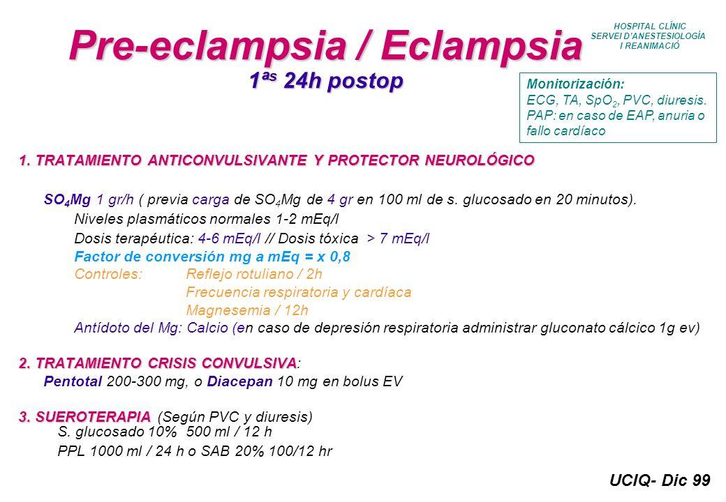 UCIQ- Dic 99 HOSPITAL CLÍNIC SERVEI DANESTESIOLOGÍA I REANIMACIÓ Pre-eclampsia / Eclampsia 1ª s 24h postop 1. TRATAMIENTO ANTICONVULSIVANTE Y PROTECTO