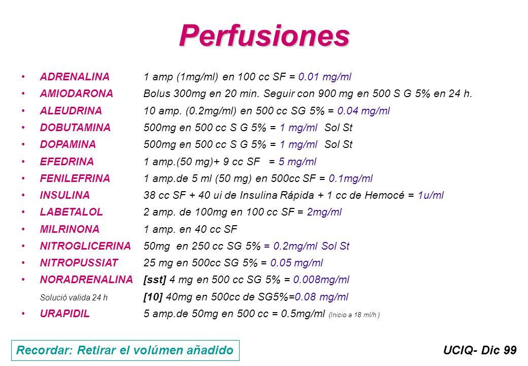 UCIQ- Dic 99 Perfusiones ADRENALINA1 amp (1mg/ml) en 100 cc SF = 0.01 mg/ml AMIODARONA Bolus 300mg en 20 min. Seguir con 900 mg en 500 S G 5% en 24 h.