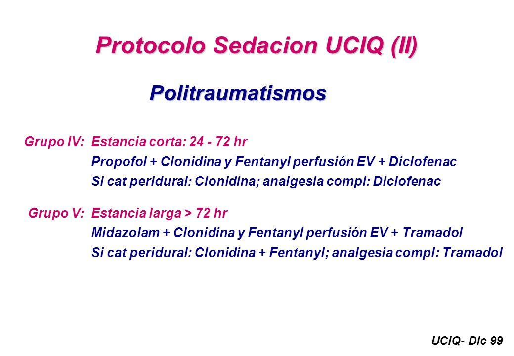 UCIQ- Dic 99 Protocolo Sedacion UCIQ (II) Politraumatismos Estancia corta: 24 - 72 hr Propofol + Clonidina y Fentanyl perfusión EV + Diclofenac Si cat