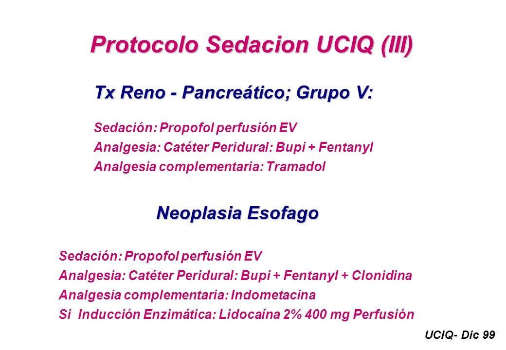 UCIQ- Dic 99 Protocolo Sedacion UCIQ (III) Tx Reno - Pancreático; Grupo V: Sedación: Propofol perfusión EV Analgesia: Catéter Peridural: Bupi + Fentan