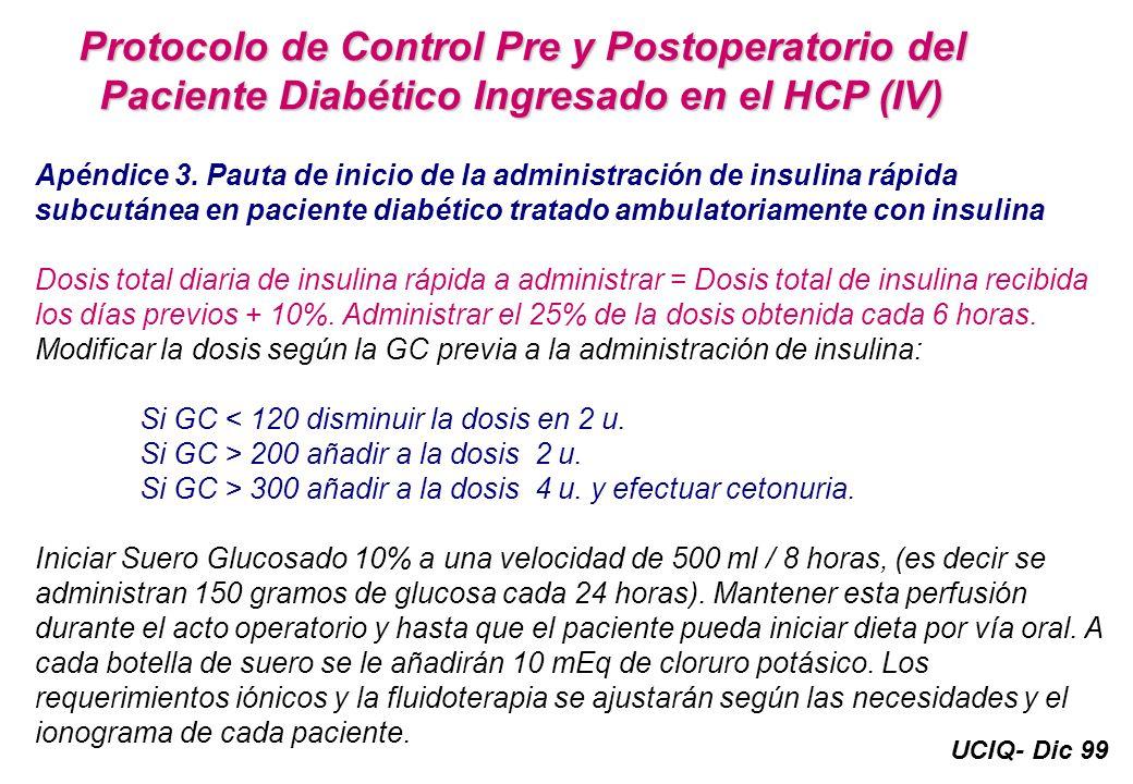 UCIQ- Dic 99 Protocolo de Control Pre y Postoperatorio del Paciente Diabético Ingresado en el HCP (IV) Apéndice 3. Pauta de inicio de la administració
