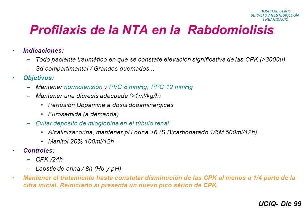 UCIQ- Dic 99 HOSPITAL CLÍNIC SERVEI DANESTESIOLOGÍA I REANIMACIÓ Postoperatorio Tx Renal en niños Tratamiento básico: –S Glucosado 10% 10 ml/kg/24h –S Fisiológico 10 ml/kg/24h –Plasma-Lyte 10 ml/kg/24h –Ranitidina 25-50mg/8h-12h/ev –Dopamina (1-3Tg/Kg/min), en ausencia de HTA –Bupivacaina+fentanil peridural –Analgesia de rescate: Metamizol 20-40 mg/kg/6-8h/ev –Inmunosupresores según pauta UTR (a las 24h) Control hiperK y acidosis metabólica: –mantener K inferior a 5.5mEq/L –ClCa 10%: 20-40mg/Kg –Bic Na 1-2mEq/Kg –Insulina+Glucosa: 0.5 g/kg de glucosa (5ml/Kg de SG 10%) + 1u insulina /3-4 g de glucosa (1u/30-40 ml de SG 10%) administrar 50% en 10 min Objetivos básicos: –Mantener PVC 5-8 mmHg –Mantener diuresis >0.5mg/kg/h, si oliguria con PVC>8: –Furosemida 0.1-1mg/kg –Reponer pérdidas (SF vs PPL 5ml/kg a pasar en 20-30 min) Controles al ingreso: –Gasometría arterial –BQ básica –Coagulación –Rx Tórax Estos pacientes permanecerán en la UVP o en la UCI Q durante las primeras 48h postoperatorias