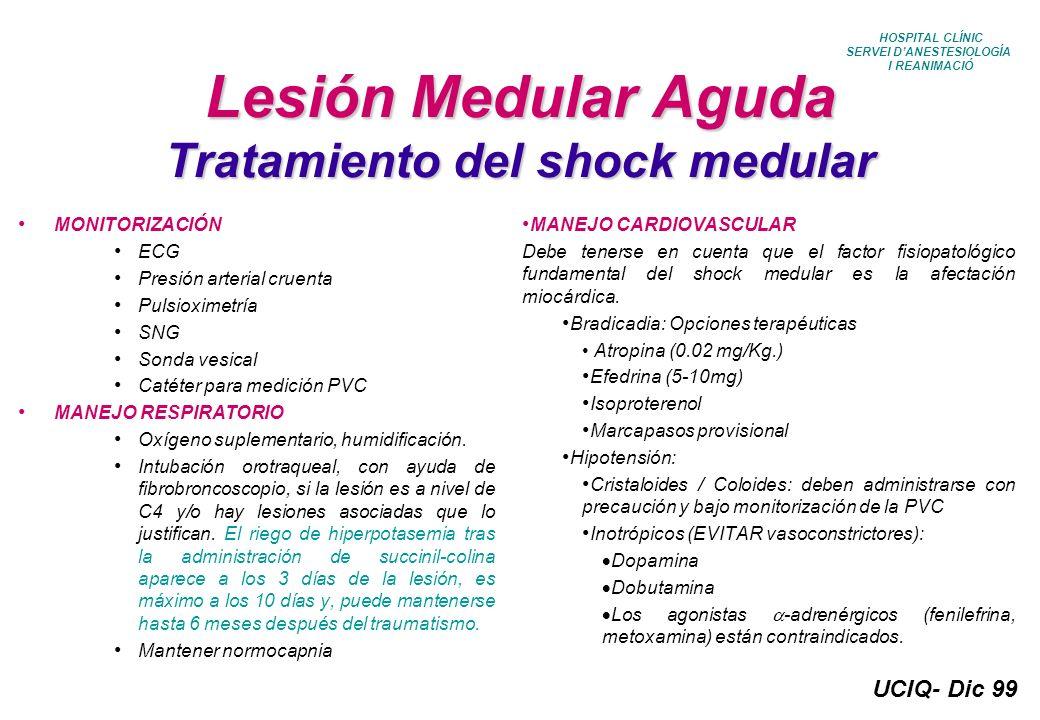 UCIQ- Dic 99 HOSPITAL CLÍNIC SERVEI DANESTESIOLOGÍA I REANIMACIÓ Tratamiento postquirúrgico Cirugía Encefálica S Ringer 500ml/8h/ev S Fisiológico 500ml/12h/ev ClK 20 mEq en cada SF Dexametasona 4mg/6h/ev Ranitidina 50mg/8h/ev Tramadol 1mg/kg/ en 100ml de SF /8h/ev Metamizol 2g/8h/ev si precisa más analgesia Fenitoina 100mg/8h/ev si previamente seguía tratamiento
