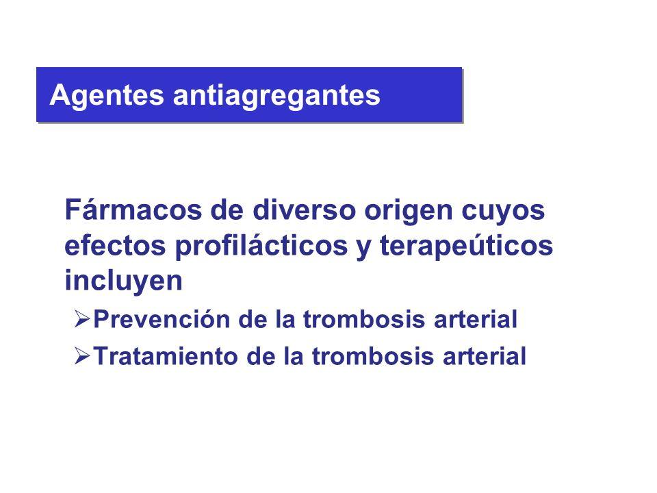 Fármacos de diverso origen cuyos efectos profilácticos y terapeúticos incluyen Prevención de la trombosis arterial Tratamiento de la trombosis arteria