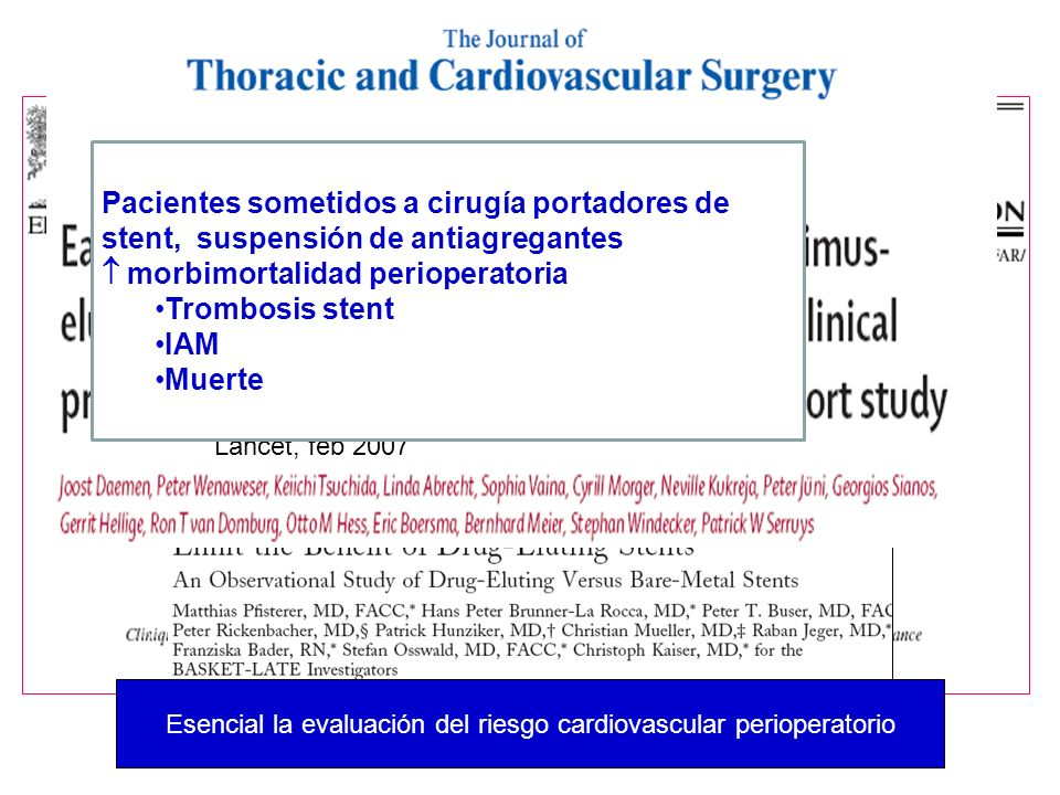 Lancet, feb 2007 Pacientes sometidos a cirugía portadores de stent, suspensión de antiagregantes morbimortalidad perioperatoria Trombosis stent IAM Mu