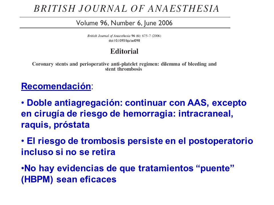 Recomendación: Doble antiagregación: continuar con AAS, excepto en cirugía de riesgo de hemorragia: intracraneal, raquis, próstata El riesgo de trombo