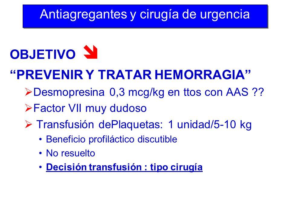 OBJETIVO PREVENIR Y TRATAR HEMORRAGIA Desmopresina 0,3 mcg/kg en ttos con AAS ?? Factor VII muy dudoso Transfusión dePlaquetas: 1 unidad/5-10 kg Benef