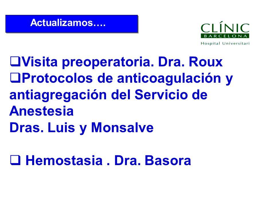 Actualizamos…. Visita preoperatoria. Dra. Roux Protocolos de anticoagulación y antiagregación del Servicio de Anestesia Dras. Luis y Monsalve Hemostas