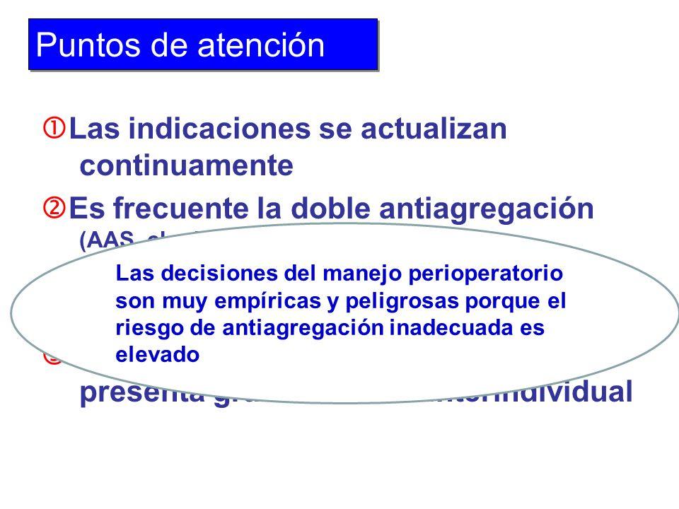 Las indicaciones se actualizan continuamente Es frecuente la doble antiagregación (AAS, clopidogrel) Neurología Stents La respuesta a la antiagregació