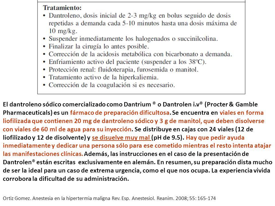El dantroleno sódico comercializado como Dantrium ® o Dantrolen i.v® (Procter & Gamble Pharmaceuticals) es un fármaco de preparación dificultosa. Se e