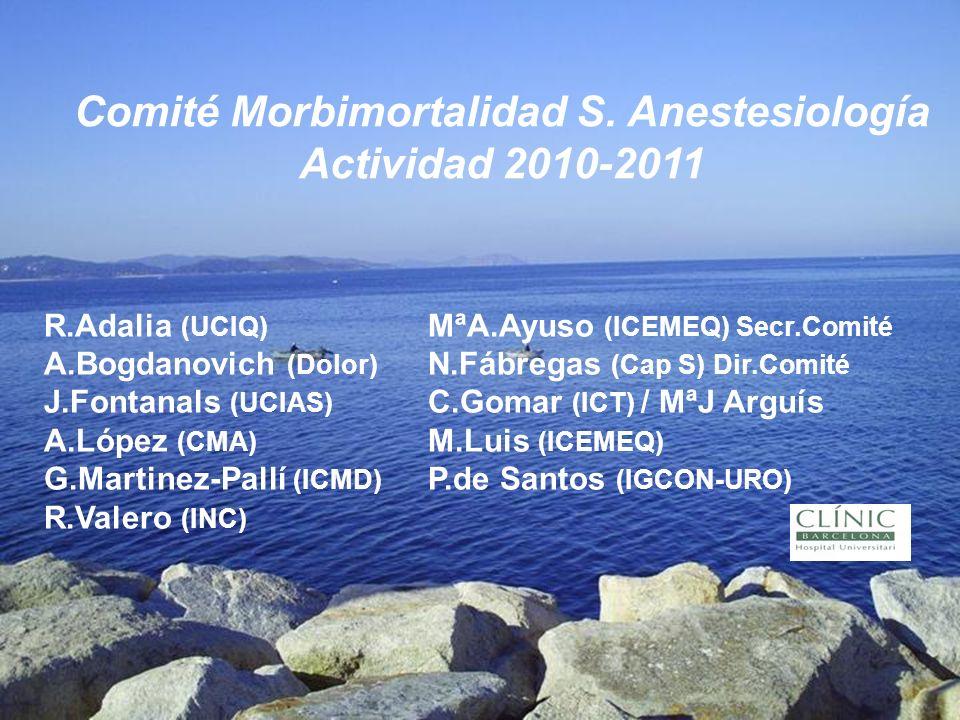 R.Adalia (UCIQ) MªA.Ayuso (ICEMEQ) Secr.Comité A.Bogdanovich (Dolor) N.Fábregas (Cap S) Dir.Comité J.Fontanals (UCIAS) C.Gomar (ICT) / MªJ Arguís A.Ló