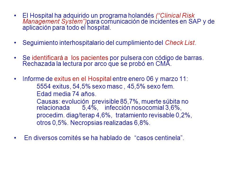 El Hospital ha adquirido un programa holandés (Clinical Risk Management System)para comunicación de incidentes en SAP y de aplicación para todo el hos