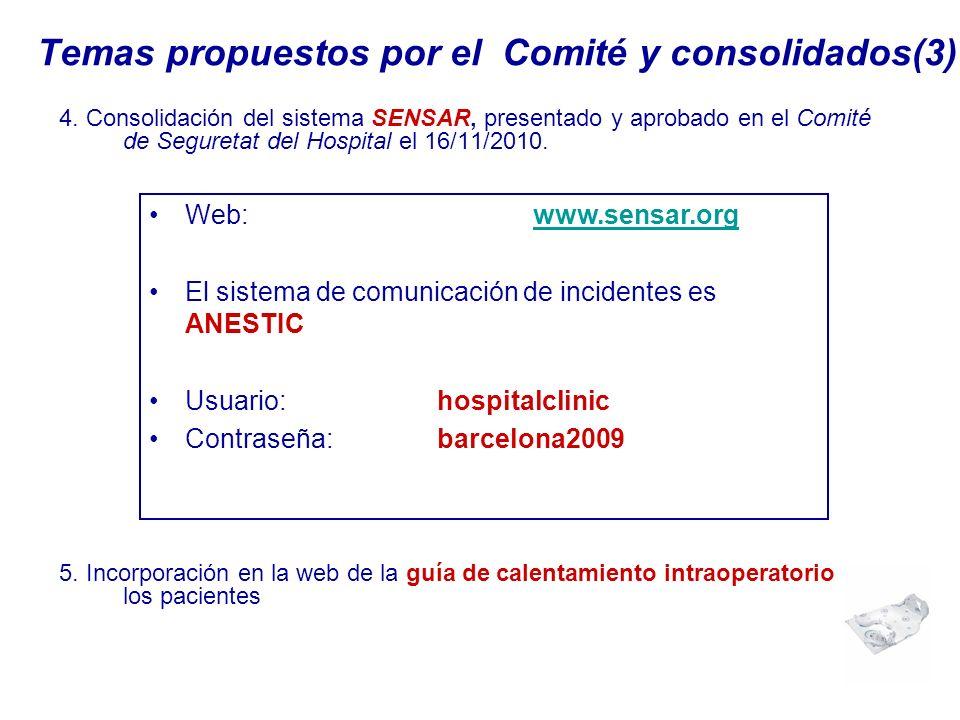 Temas propuestos por el Comité y consolidados(3) 4. Consolidación del sistema SENSAR, presentado y aprobado en el Comité de Seguretat del Hospital el