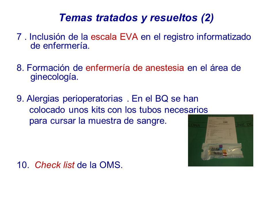 Temas tratados y resueltos (2) 7. Inclusión de la escala EVA en el registro informatizado de enfermería. 8. Formación de enfermería de anestesia en el