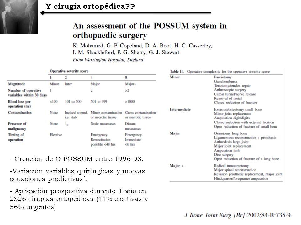 Y cirugía ortopédica?? - Creación de O-POSSUM entre 1996-98. -Variación variables quirúrgicas y nuevas ecuaciones predictivas´. - Aplicación prospecti