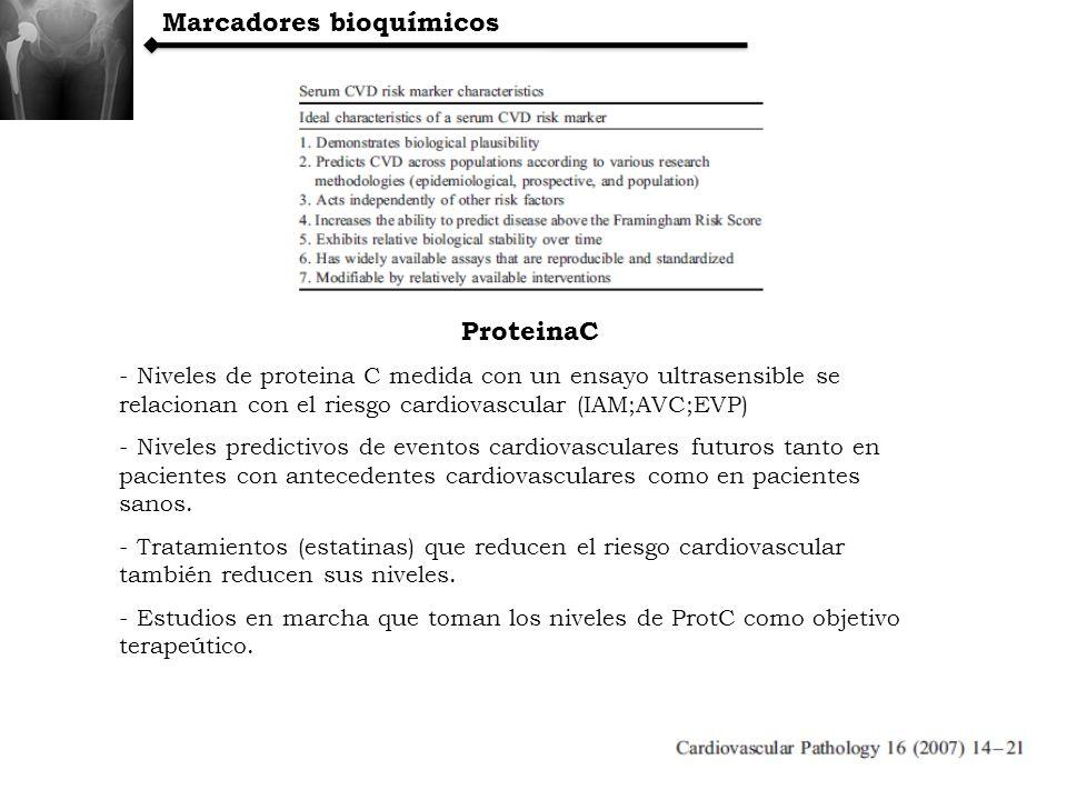 ProteinaC - Niveles de proteina C medida con un ensayo ultrasensible se relacionan con el riesgo cardiovascular (IAM;AVC;EVP) - Niveles predictivos de