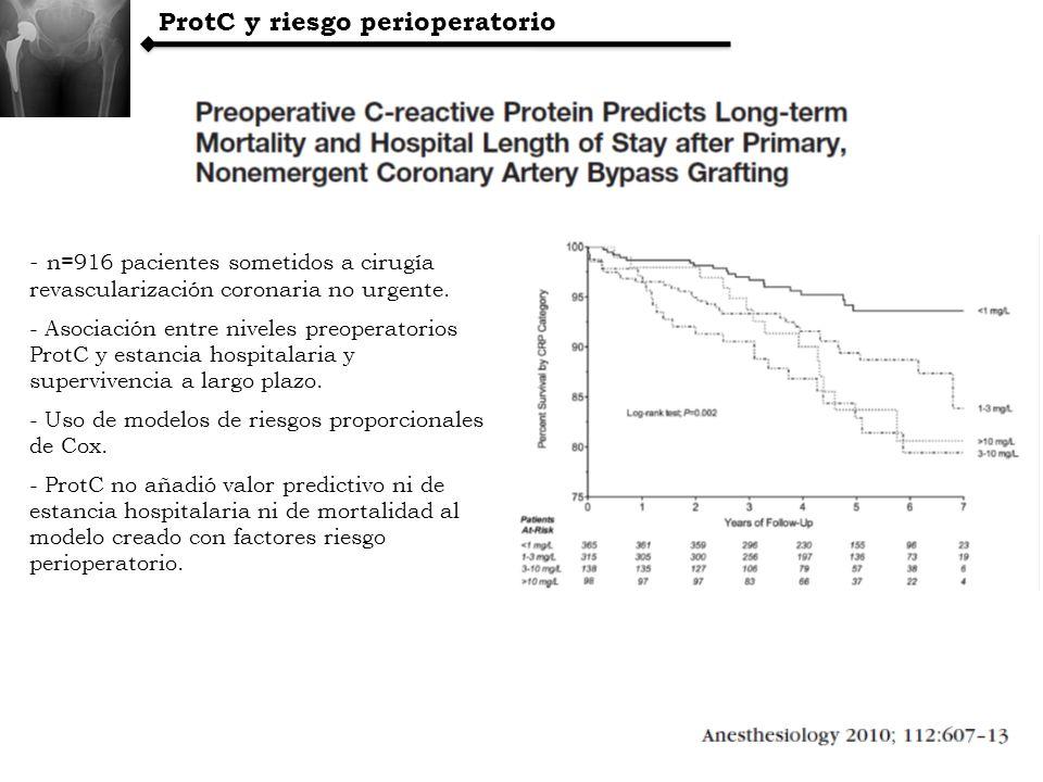 ProtC y riesgo perioperatorio - n=916 pacientes sometidos a cirugía revascularización coronaria no urgente. - Asociación entre niveles preoperatorios