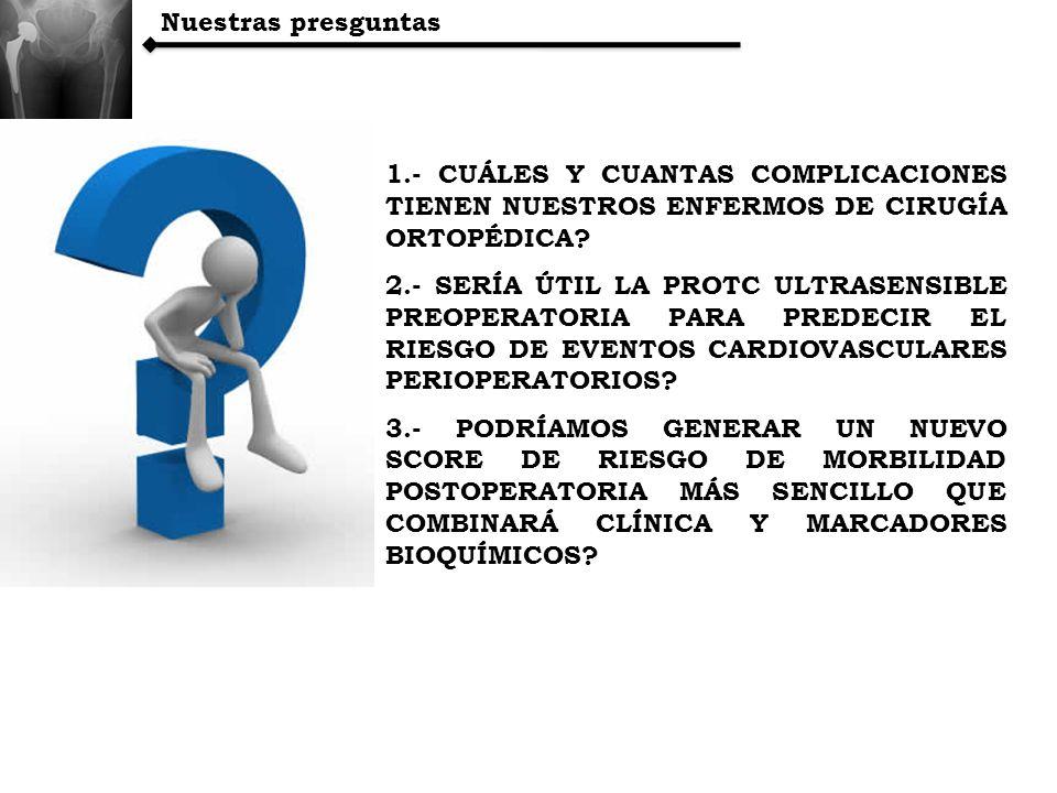 Nuestras presguntas 1.- CUÁLES Y CUANTAS COMPLICACIONES TIENEN NUESTROS ENFERMOS DE CIRUGÍA ORTOPÉDICA? 2.- SERÍA ÚTIL LA PROTC ULTRASENSIBLE PREOPERA