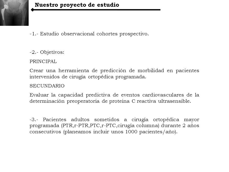 Nuestro proyecto de estudio -1.- Estudio observacional cohortes prospectivo. -2.- Objetivos: PRINCIPAL Crear una herramienta de predicción de morbilid