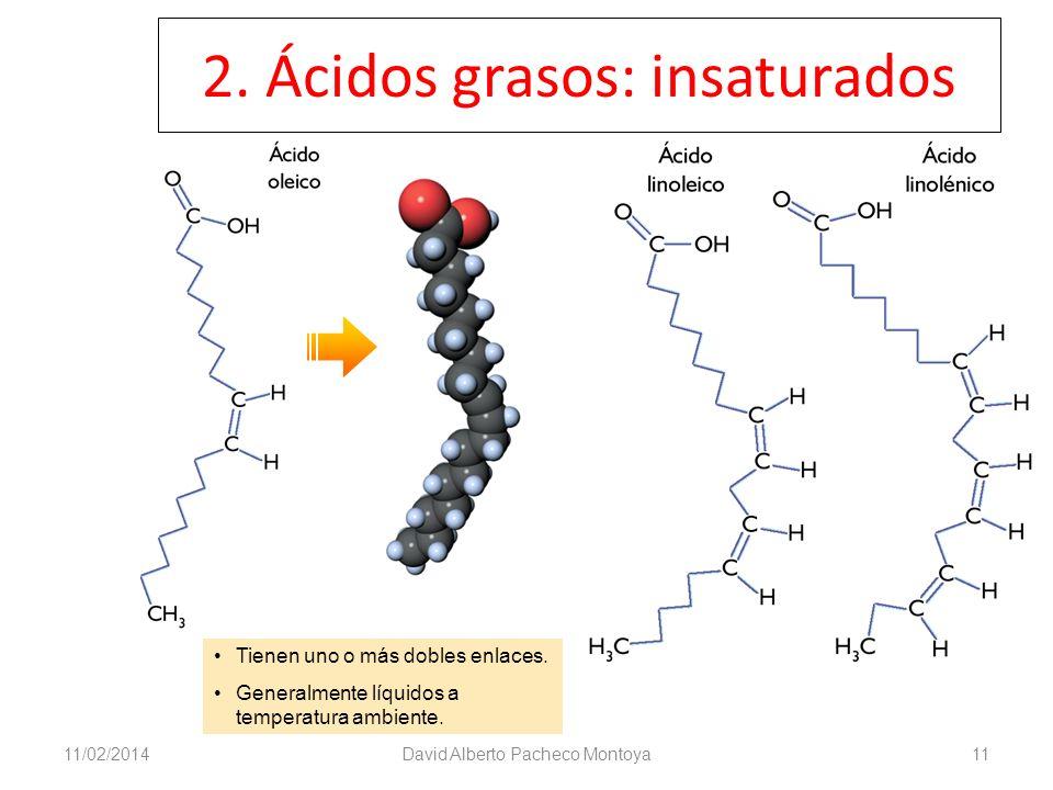 2. Ácidos grasos: insaturados 11/02/2014David Alberto Pacheco Montoya11 Tienen uno o más dobles enlaces. Generalmente líquidos a temperatura ambiente.
