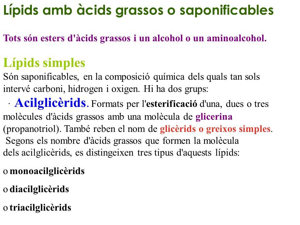 Lípids amb àcids grassos o saponificables Tots són esters d'àcids grassos i un alcohol o un aminoalcohol. Lípids simples Són saponificables, en la com