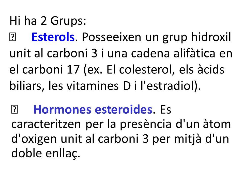 Hi ha 2 Grups: Esterols. Posseeixen un grup hidroxil unit al carboni 3 i una cadena alifàtica en el carboni 17 (ex. El colesterol, els àcids biliars,